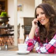 Smiling Woman on Cell Phone — Stock Photo #78908706