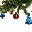 Three old christmas ornaments on branch — Stock Photo #58207769