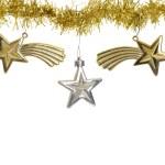 Three stars on christmas gold garland — Stock Photo #58207777