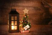 Mini christmas tree with lantern — Foto de Stock