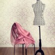 Vintage dress form pink fabric — Stockfoto #62614457
