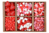 Assorted valentines candy in a box — Stok fotoğraf