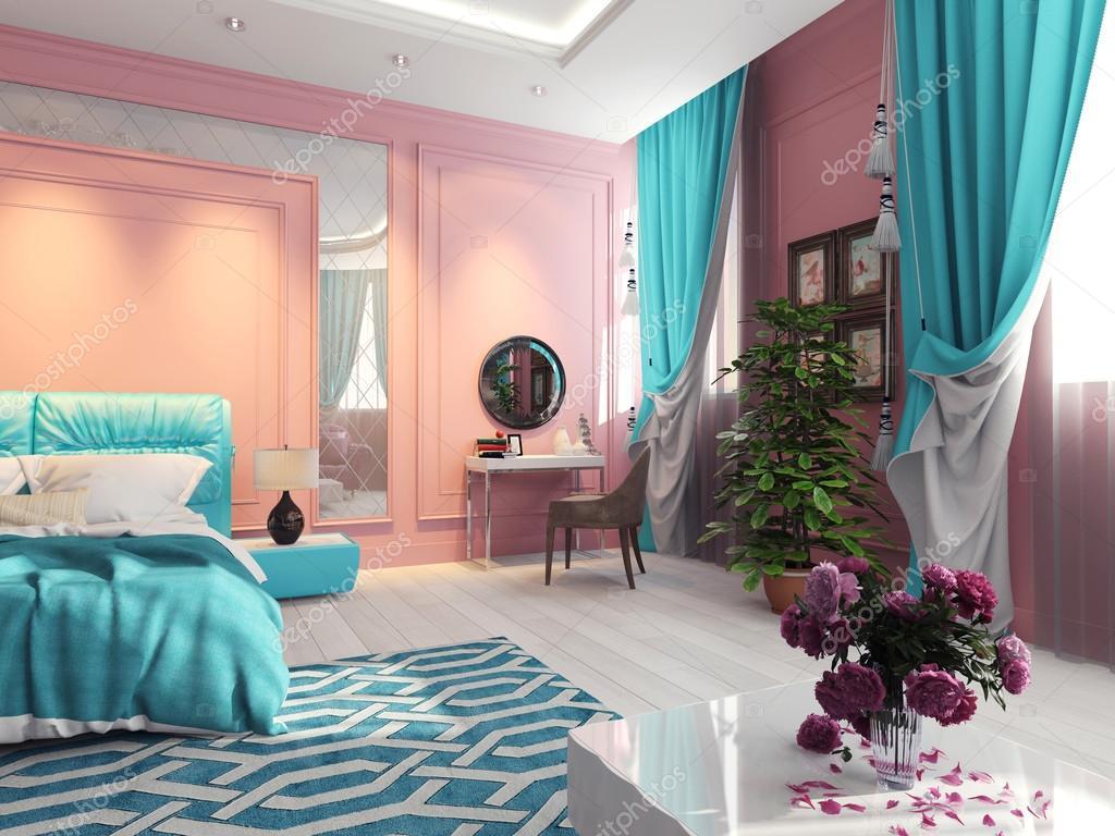 Interieur slaapkamers met turquoise gordijnen — stockfoto ...