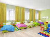 Bedroom interior in kindergarten — Stock Photo