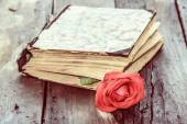 Vintage book and rose — Stock Photo