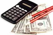 Calculator, money and pencils — Stock Photo