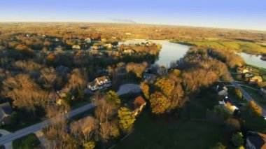 Residential subdivision by lake in kentucky — Stock Video