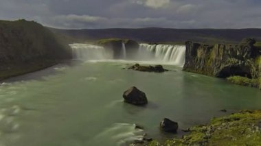 Godafoss waterfall — Stock Video