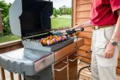 Grilling shish kebob — Stock Photo