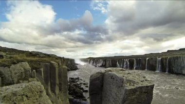 Selfoss waterfall on a river — Stock Video