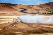 Steam vents in geothermal field — Stock Photo