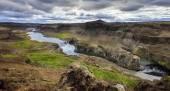 Hafragilsfoss waterfall on Jokulsa Fjollum river — Stock Photo