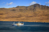 Fishing ship in Seydisfjordur fjord — Stock Photo