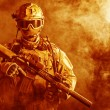 Special forces soldier in the fire — Stock Photo #61484783