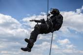Rappeling assault — Stock Photo