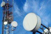 Telecommunication mast TV antennas — Stock Photo