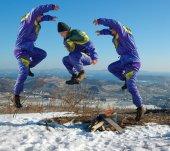 Jump happy man. winter. — Stock Photo