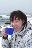woman is drinking hot tea  — Stock Photo