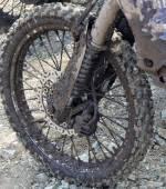 Dirty wheel motorcycle — Stock Photo