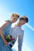 nice young wedding couple — Stock Photo