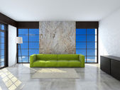 Green sofa in the room 3d rendering — Stock Photo