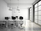 白 3 d レンダリングでモダンなオフィスのインテリア — ストック写真