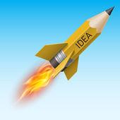 Yellow pencil as flying rocket — Vetor de Stock