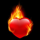 Red heart burning in flames — Stock Vector