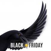 Flying raven with black friday discounts — Stock Vector