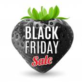 Black strawberry with Black Friday discounts — Stock Vector