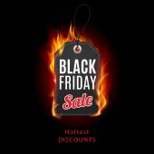 Fire label with Black Friday discounts — Stockvector