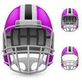 Set of magenta football helmets — Stock Vector