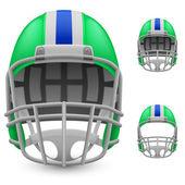 Set of green football helmets — Stock Vector