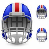 Set of blue football helmets — Stock Vector