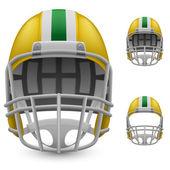 Set of yellow football helmets — Stock Vector