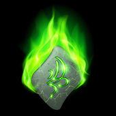 Magic rune burning in green flame — Stockvektor
