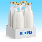 Set of closed glass bottles of milk — Stock Vector