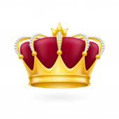 Corona de oro sobre fondo blanco — Vector de stock