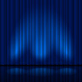 Realistic blue curtain — Stock Vector
