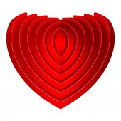 Red embossed heart — Stockvector