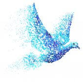 Dove of blue particles — Stock Vector