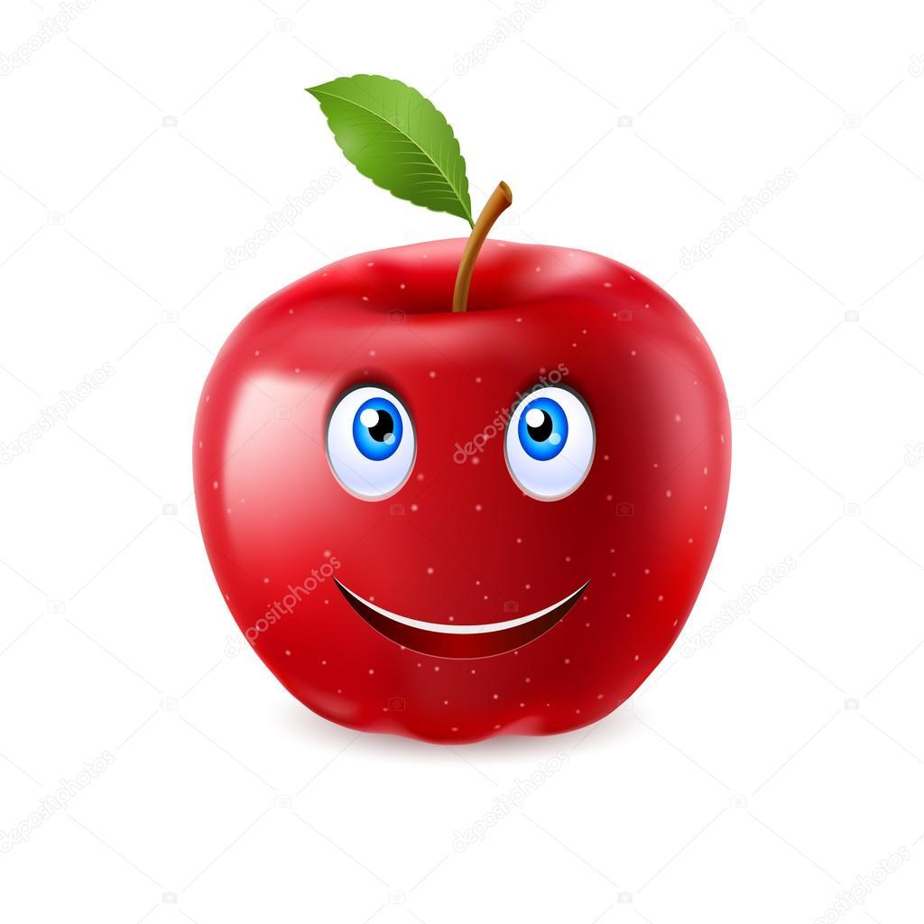 Pomme rouge dessin anim avec un vantail et un sourire - Dessin pomme apple ...