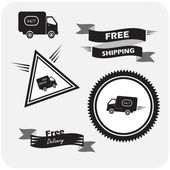 Illustration of icons shipments and free delivery, — Stock Vector