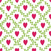 Pattern with floral elements and hearts. — Stok Vektör
