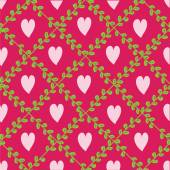 Pattern with floral elements and hearts. — Stockvektor