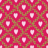 Pattern with floral elements and hearts. — ストックベクタ