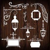 Retro street lanterns on wooden backdrop — Stock Vector