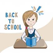 Ilustrace ze školy dívka čtení učebnice — Stock vektor