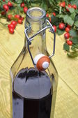 A bottle of liquor and rosehip fruits — Stock Photo