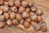 Dry oak acorns on wooden board — Stock Photo
